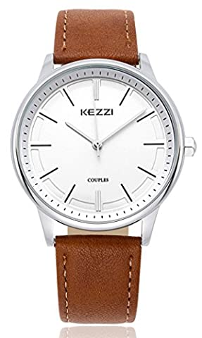 Wutan Men's Watch Stainless Steel Case Black Leather Band Sports Watches Analog Quartz Casual Classic Fasion Wristwatches (Mens Leather Watches Small)