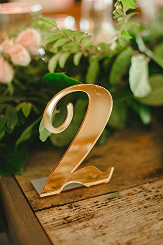 Wedding Table Numbers for Weddings, Party and Event Centerpiece Decor, Standing Numbers in Gold, Silver, or Clear Acrylic Chic Wedding Decorations (Priced and sold -