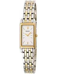 Seiko Womens SUJF76 Dress Baguette Two-Tone Stainless Steel Watch