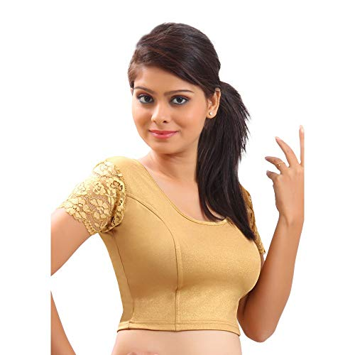 Designer Indian Gold Lycra Non-Padded Stretchable Half Sleeves Saree Blouse Crop Top (A-11)