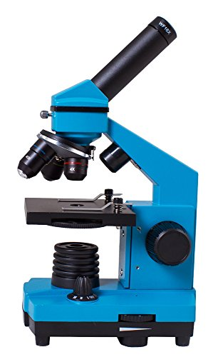 Levenhuk Rainbow 2L Plus Azure Metal Student Microscope (64-640X) with Experiment Kit for Indoor and Outdoor Use