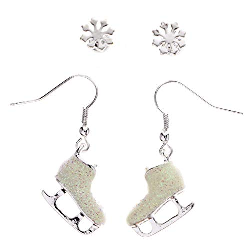 Mi Amore Winter Snowflake Glittery Ice Skates Multiple-Earring-Set Silver-Tone & White from Mi Amore