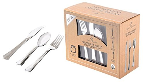 Silver Cutlery Set - 200 Pieces - Disposable Heavy Duty Plastic - Washable & Reusable. for Weddings, Parties, Catering and More