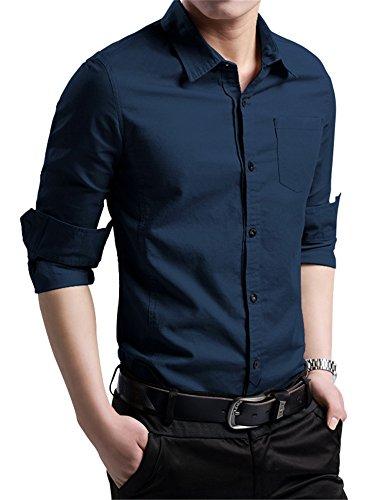 328f82402e0 XTAPAN Men's Cotton Slim Fit Casual Long Sleeve Button Down Shirt Navy Blue  XL
