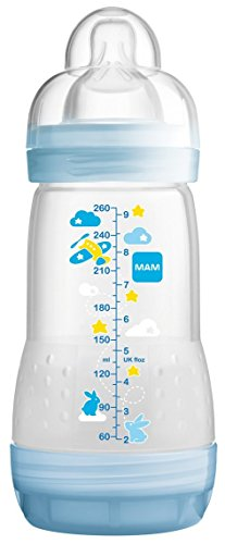 Mam-Anti-Colic-Baby-Bottle-260ml-0-6-Months-Flow-2-Colour-Transparent-green-with-patterns
