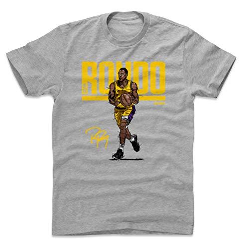(500 LEVEL Rajon Rondo Cotton Shirt Large Heather Gray - Los Angeles Basketball Men's Apparel - Rajon Rondo Hyper Y WHT)