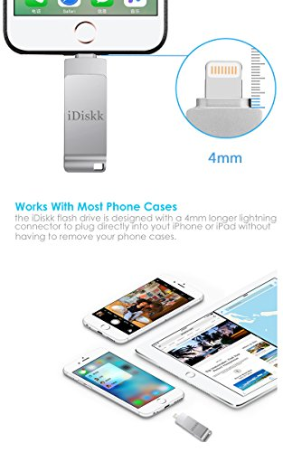 Apple Certified 64GB iPad USB 3.0 Lightning Flash Drive For iPhone External Storage OTG Compatible to iPhone 6,iPhone 7,iPhone 5,iPad mini,iPad air,iPod,Mac and PC,iDiskk【Upgraded Version】