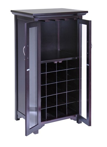 Wine Cabinet with -2- Glass Doors Espresso Finish