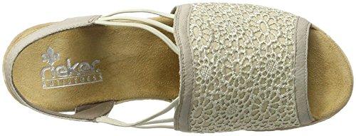 Rieker 61983, Sandalias con Cuña Para Mujer Beige (Muschel/beige-lightgold / 60)