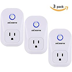 Smart Plug, Alexa Socket Outlet DILISENS Wireless Timing Smart Switch Remote Control Your Smart Home Devices, Wi-FI, No Hub Required, Works with Amazon Echo / Google Home- UL Listed (3 Pack )