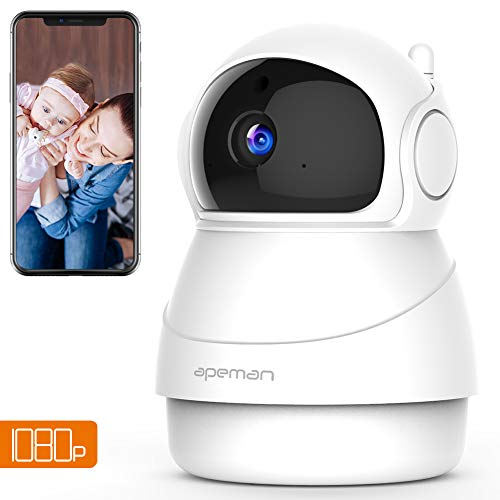 Apeman WiFi 1080P Security Camera, Home Wireless Surveillance IP Camera for Baby/Elder/Pet/Nanny Monitor, Pan/Tilt, Two-Way Audio & Night Vision