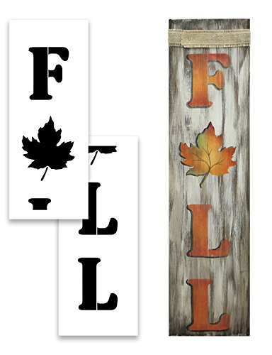 Extra Large 48'' FALL STENCIL with WORD and LEAF for Painting on Wood | Reusable Mylar | Ideal for DIY Crafting Tall Vertical Porch Signs - Pallet (Rustic Entrance Sign) 48'' x 12'' by Studio R 12