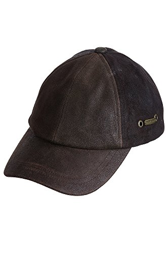 100 Percent Ball Cap - Stetson Men's Weathered Leather Ball Cap, Brown, One Size