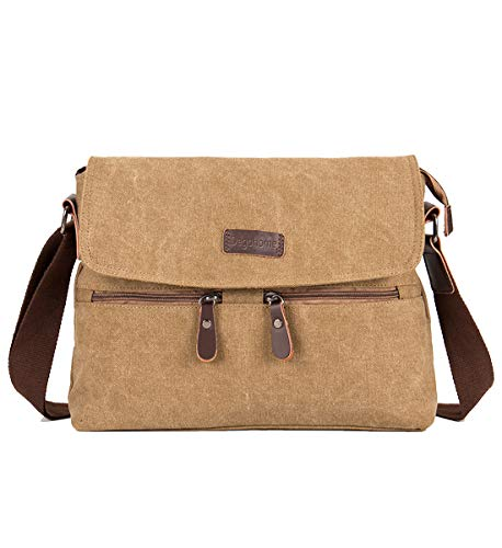 Degohome Canvas Satchel Bag Shoulder Bag Crossbody Sling Bag for Men and Women (khaki)