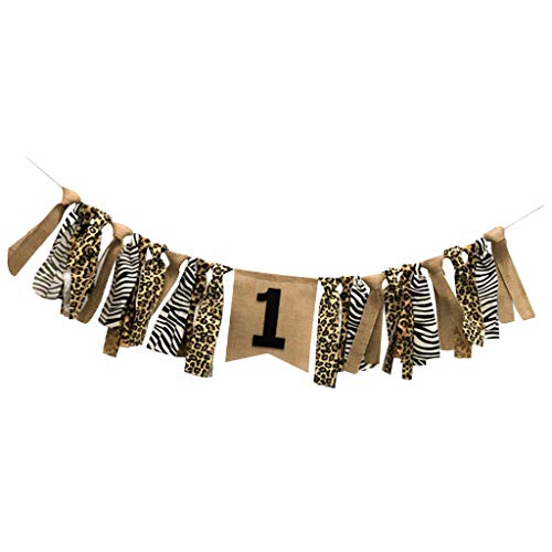 Prettyia Shabby Chic Tassel Garland Leopard Print Rag Tied Highchair Banner 1st Birthday Xmas Party Decor 2 Meters - A, 2m ()