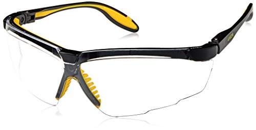 Uvex S3520 Genesis X2 Safety Eyewear, Black and Yellow Frame, Clear Ultra-Dura Hardcoat Lens