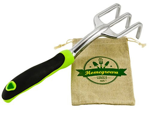 Garden Cultivator & Soil Tiller with Ergonomic Handle; Hand Rake Best for Gardening and Weed Removal; Includes Burlap Sack - Great Gardening Gift by Homegrown Garden Tools