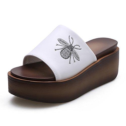 Chanclas MEIDUO sandalias Negro/blanco verano mujer Sandalias de moda (tacón: 6 cm) cómodo Blanco