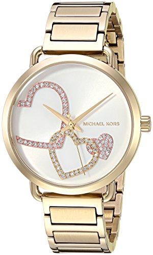 Michael Kors Women's Portia Analog Display Analog Quartz Gold Watch - Three Station Bracelet