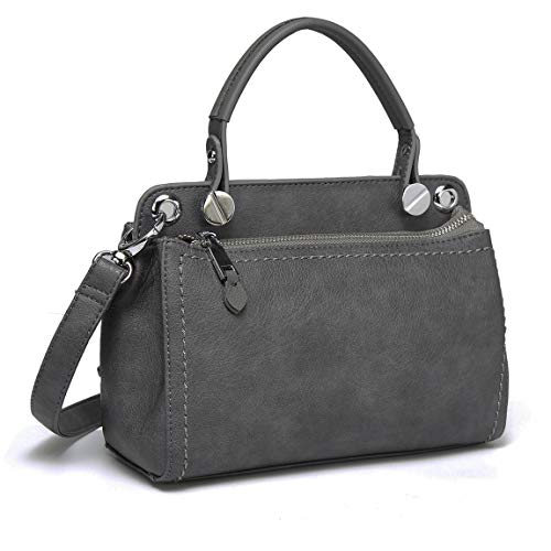 Purse Women Top PU Kasqo with Bag Leather Crossbody Handle Gray Bag for Shoulder EqSxP