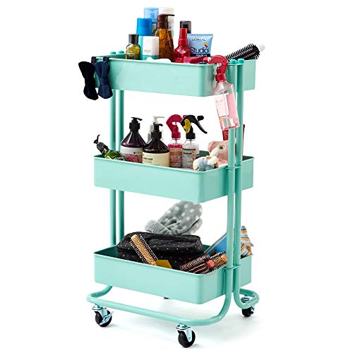 3-Tier Heavy Duty Storage Organizer Standing Shelf, EZOWare Multifunction Metal Mesh Basket Rolling Utility Organization Cart for Bathroom, Kitchen, Office, Library, Salon & Spa -Teal