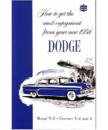 1954 DODGE Car Full Line Owners Manual User Guide