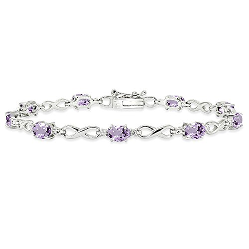 Jewelry Set Amethyst Gemstone - Sterling Silver Amethyst Oval Polished Infinity Classic Tennis Bracelet