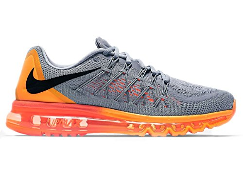 Nike Air Max 2015 Mens Pattino Corrente Lupo Grigio / Nero Arancio / Arancio Del Laser / Totale