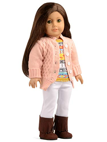American Girl Sweater - sweet dolly Doll Clothes 4Pc. Sweater Cardigan Set with Doll Boots for 18