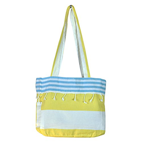 Birchwood Chaput's Boreas Style Turkish Beach Bag, Yellow & Aqua