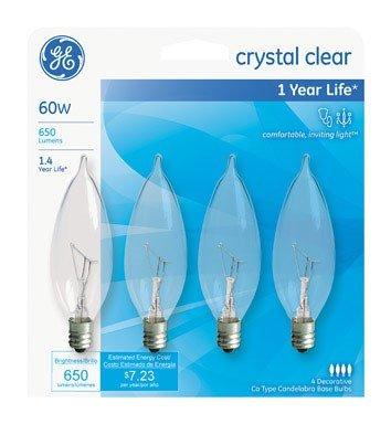 Bent Clear Tip (GE Lighting Crystal Clear 76239 60-Watt, 650-Lumen Bent Tip Light Bulb with Candelabra Base, 16-Pack)