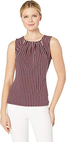 (Tommy Hilfiger Women's Heart Print Bead Neck Sleeveless Knit Top Midnight Multi Medium)