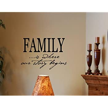 This Item FAMILY IS WHERE OUR STORY BEGINS Vinyl Wall Decals Quotes Sayings  Words Art D..
