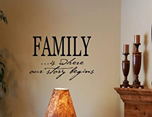 FAMILY IS WHERE OUR STORY BEGINS Vinyl Wall Decals Quotes Sayings Words Art  D..