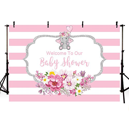 MEHOFOTO 7x5ft Elephant Girl Baby Shower Party Backdrop Pink Flowers Welcome Decorations Pink Stripes Silver Sequin Border Photography Background Photo Banner