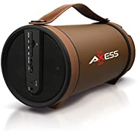 AXESS SPBT1033BR Portable Bluetooth Indoor/Outdoor 2.1 Hi-Fi Cylinder Loud Speaker with Built-In 4 Sub and FM Radio, SD Card, USB, AUX Inputs in Brown