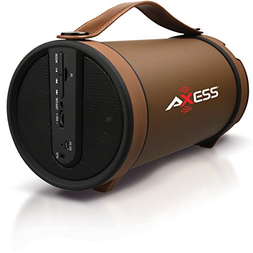 AXESS SPBT1033 Portable Bluetooth Indoor/Outdoor 2.1 Hi-Fi Cylinder Loud Speaker with Built-In 4 Sub and FM Radio, SD Card, USB, AUX Inputs in Brown