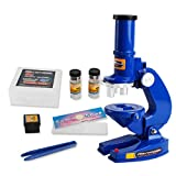 Gbell Kids Biological Microscope Kit,100X/200X/450X Ratio Lab Science Educational Toy Gifts for Boys Girls,22x22x7CM Microscope Puzzle Game (Blue)