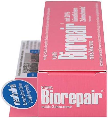 Biorepair Zahncreme mild, 2 x 75 ml - Schutz bei empfindlichen Zähnen | Menthol- und pfefferminzölfrei | Ohne Fluorid