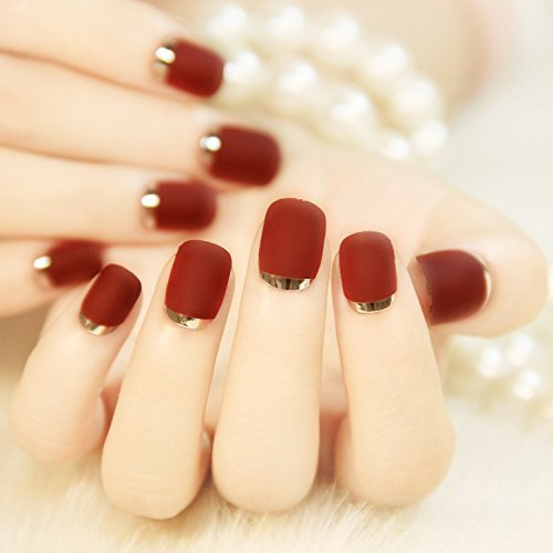 24PCS Metallic French Acrylic Burgundy