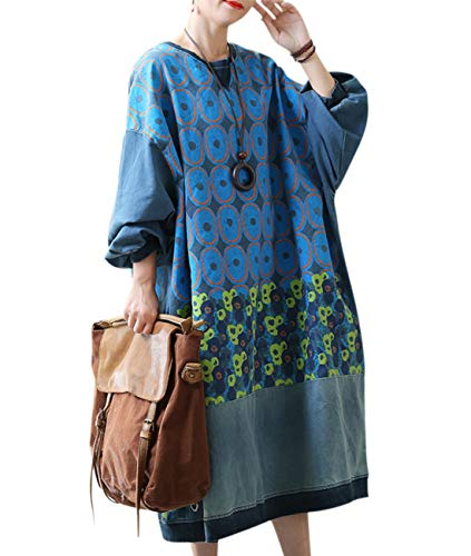 YESNO LB3 Women Long Casual Sweatshirts Dress Plus Size Color Floral Painted Stitched Puff Sleeve Pockets (Checked Puff Sleeve Dress)