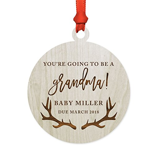 (Andaz Press Personalized Pregnancy Announcement Laser Engraved Wood Christmas Ornament, You're Going to be a Grandma! Baby Miller Due March 2019, Deer Antlers, 1-Pack, Includes Ribbon and Gift Bag)