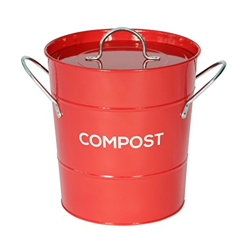 Red Metal Kitchen Compost Caddy – Composting Bin for Food Waste Recycling with Guide to composting