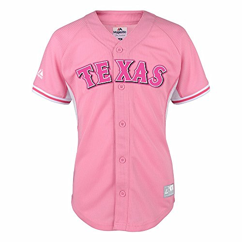 Texas Rangers MLB Majestic Girls Pink Official Batting Practice Fashion Jersey – DiZiSports Store