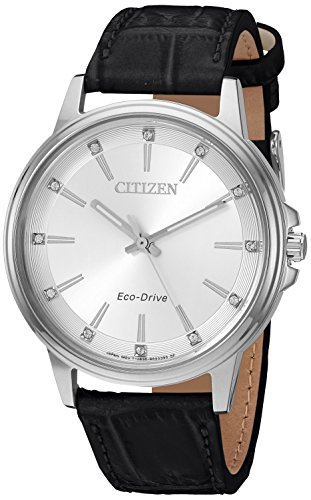 Citizen Women's 'Eco-Drive' Quartz Stainless Steel and Leather Casual Watch - Color:Black (Model: FE7030-14A)