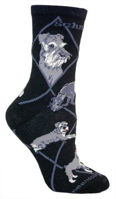 Miniature Schnauzer Black Cotton Dog Novelty Socks for Adults 9-11 made in New England