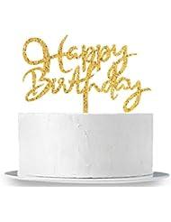 INNORU Gold Happy Birthday Cake Topper - Adult Birthday Party Decoration Supplies