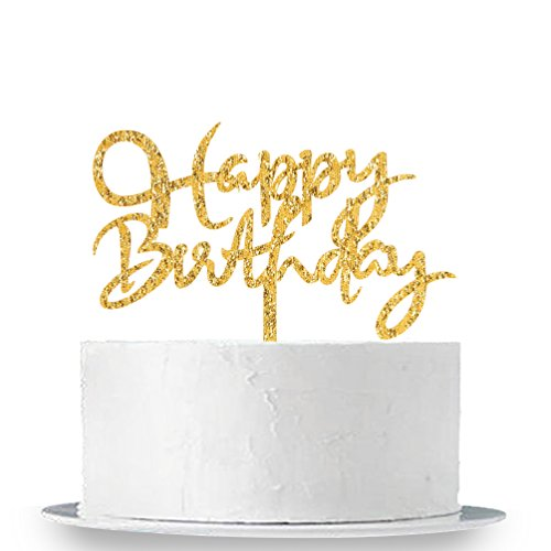 INNORU Gold Happy Birthday Cake Topper - Adult Birthday Party Decoration Supplies
