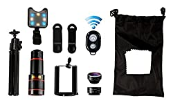 Phone Camera lens kit for any iPhone & Samsung. Included is 4 in 1 lens attachment kit w/ 12x telephoto, 198° fisheye lens, 0.63x wide angle, 15x macro, tripod, remote shutter and Selfie light!
