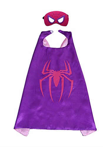 Kids Night-luminous CAPE & MASK SET Superhero and Princess Halloween Costume Spidergirl